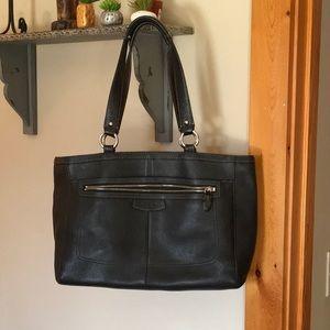 Large leather Black Coach purse